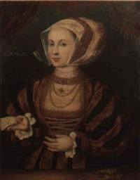 portrait of lady guildford, aged 28, wearing a choker, holding a letter by hans eworth