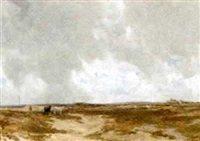 ponies by sand dunes in a scottish landscape by hubert herbert coutts