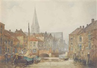 a dutch waterway in breda by john ernest aitken