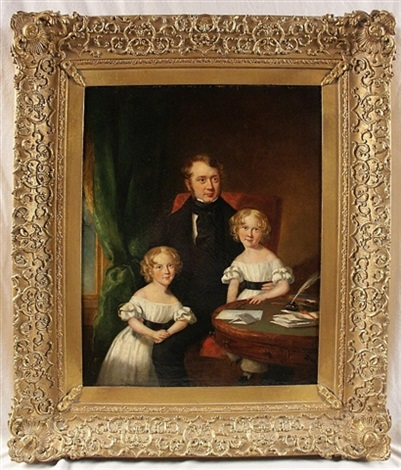 portrait of richard heyburne with his twin daughters by t gandy