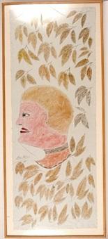 woman in brown leaves by lee godie
