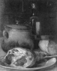 stilleben mit schinkenkeule, brot und wein by antoine-ferdinand attendu
