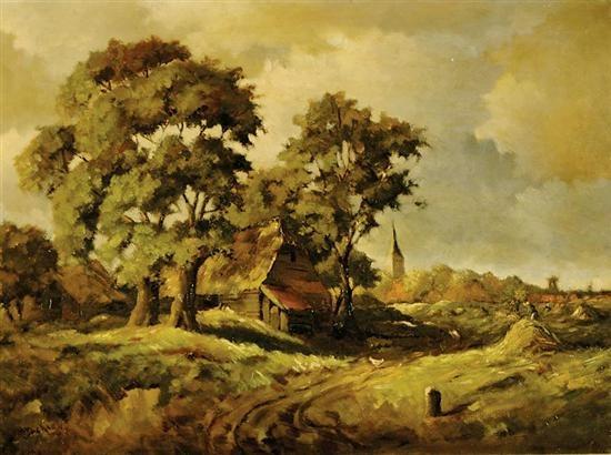 continental village scene by m jackson