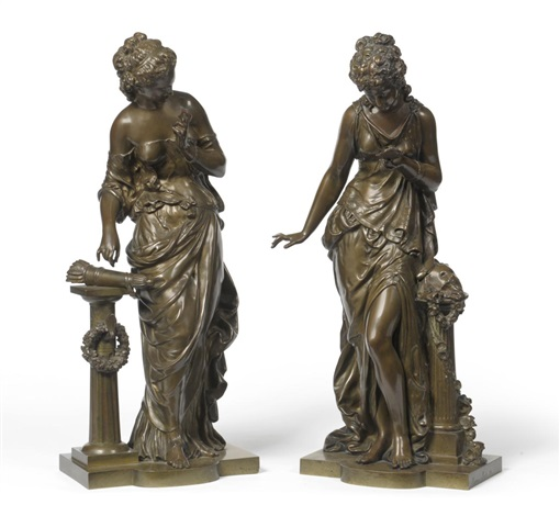 figures of maidens (pair) by mathurin moreau