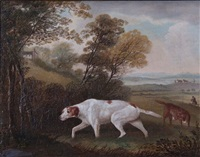 a country landscape with pointers and huntsmen by thomas weaver
