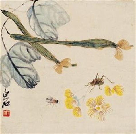草虫趣 flower and bird by qi baishi
