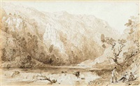 view of dovedale, derbyshire (+ distant view of a continental town; 2 works) by thomas allom