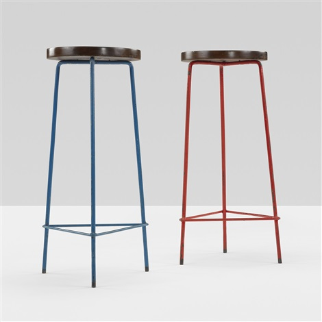 stools from the college of architecture, chandigarh (pair) by pierre jeanneret