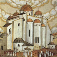 design for a stage set depicting a procession circumambulating a golden-domed church by sergei nikolaievich antonov