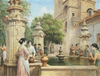 gathering at the well by arthur trevor haddon