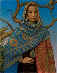 portrait de maria felix la dona iguana by antoine tzapoff