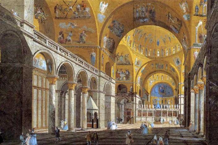 interno della basilica di san marco a venezia by giuseppe