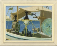 fishing boats with lamps, kos, greece (+ 3 others; 4 works) by anne e. christopherson