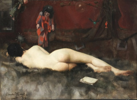 recumbent nude by claude a rivet