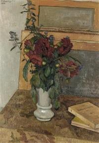 stillleben mit blumenstrauss in weisser vase by charles felix appenzeller