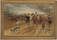 11th hussars charging at the crimea by frank h. simpson