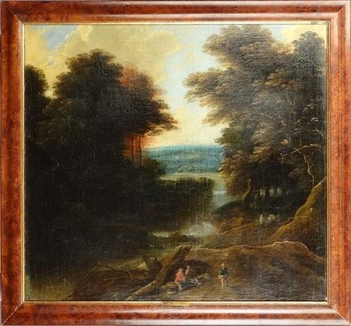 paysage boisé animé by jacques d arthois