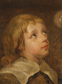 boy looking up at a bubble (study) by jacob oost the elder