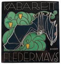 kabarett fledermaus enameled plaque by josef divèky