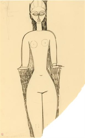 femme nue, vue de face by amedeo modigliani
