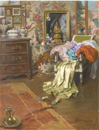 intérieur d'atelier (+ femme au pied d'un arbre: reflets de soleil, smaller; 2 works) by alexandre françois bonnardel
