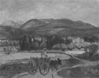 provençalische landschaft mit eselwagen by erich klossowski