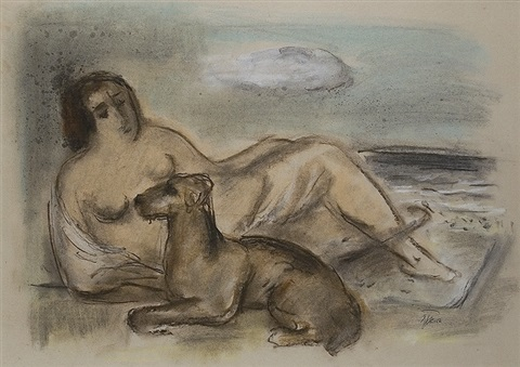 lying woman with dog by johann hermann baptist hundt