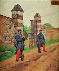 garde de l'enclos des cuirassiers, iiiè république by pierre petit-gérard