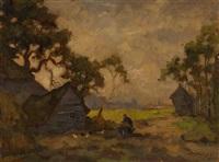 village scene by nikolai vladimirovich remizov