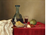 still life, flagon of wine, cheese, apple, bread and glass by james noble