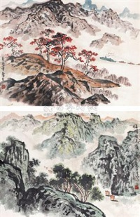 山水双挖 (2 works on 1 scroll) by liu lusheng