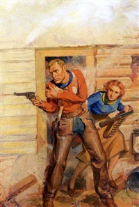 two figures caught in gunfire by harold winfield scott