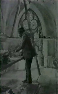 der kunstler im gewolbe einer kirche bei der glasmalerei by karl jobst