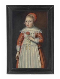 portrait of a girl, three-quarter-length, in a red dress with lace collar and cuffs, and a red bonnet, holding a rose in her left hand by anglo-dutch school (17)
