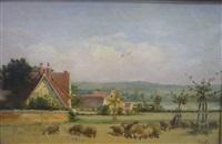 paysage aux vaches et paysage aux moutons (pair) by jean-paul haag