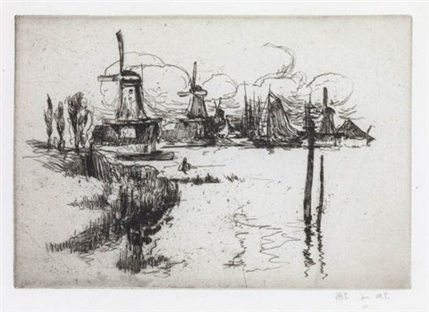 windmills 2 others 3 works by john henry twachtman