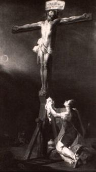 christus am kreuz mit maria magdalena by johann spillenberger