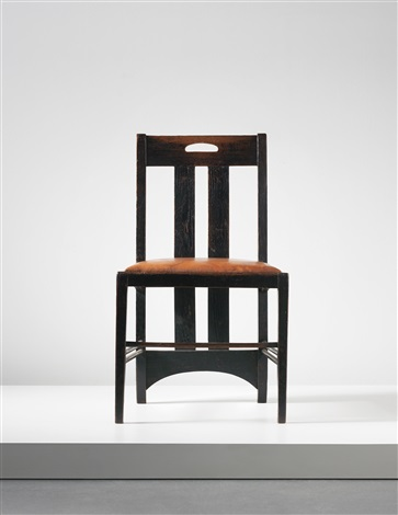 low chair designed for the white dining room ingram street tea rooms glasgow by charles rennie mackintosh