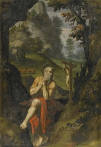 the penitent saint jerome in a landscape by girolamo muziano