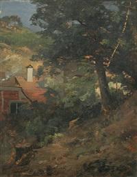 baumbestandener berghang bei einem haus by georg hesse