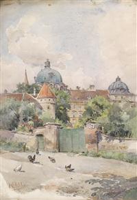 stift klosterneuburg von einem hühnerhof aus gesehen by rudolf pichler