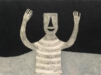 personaje en fondo negro by rufino tamayo