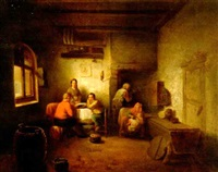 intérieur de cuisine avec personnages attablés by félix van den eycken