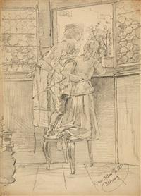 6 bll.: genre - porträt - pferde (+ die marinewaschfrau, lithograph; 7 works) by christian wilhelm allers