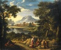 paesaggio fluviale con figure presso una fonte and paesaggio fluviale con borgo in lontananza (2 works) by paolo anesi