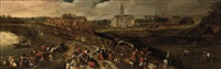 a kermesse in a village near a river, a church beyond by pieter balten
