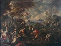 paesaggio con scena mitologica con putti, satiro e vari personaggi in festa by paolo fiammingo dei franceschi