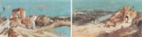 marokkanische landschaft: ruinenlandschaft mit frauen in langen gewändern an einem kleinen see by alivez