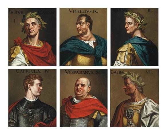roman emperors julius caesar vitellius tiberius caligula vespasian and galba 6 works by titian tiziano vecelli