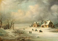 winter scene with soldiers on horseback by august achilles